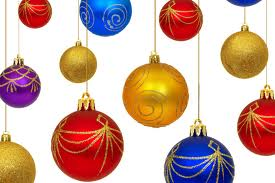 A selection of brightly coloured Christmas tree baubles suspended randomly by a string