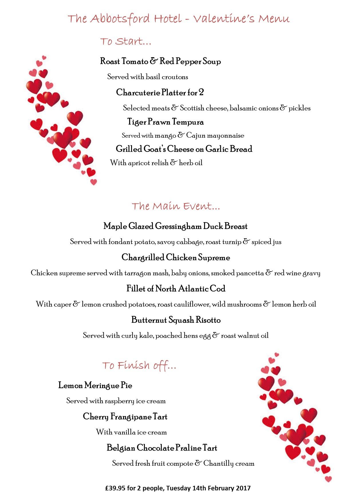 valentines day menus